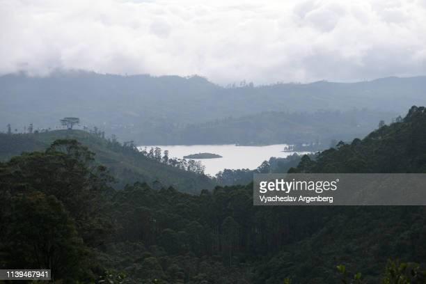 a view over maskeliya dam (lake) and the surrounding forested hills from adam's peak, sri lanka - argenberg stock-fotos und bilder