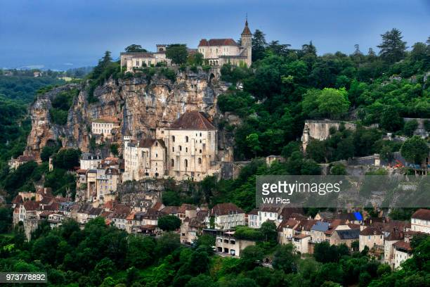 View over Medieval town of Rocamadour, Lot Department, Midi-Pyrenees, France.