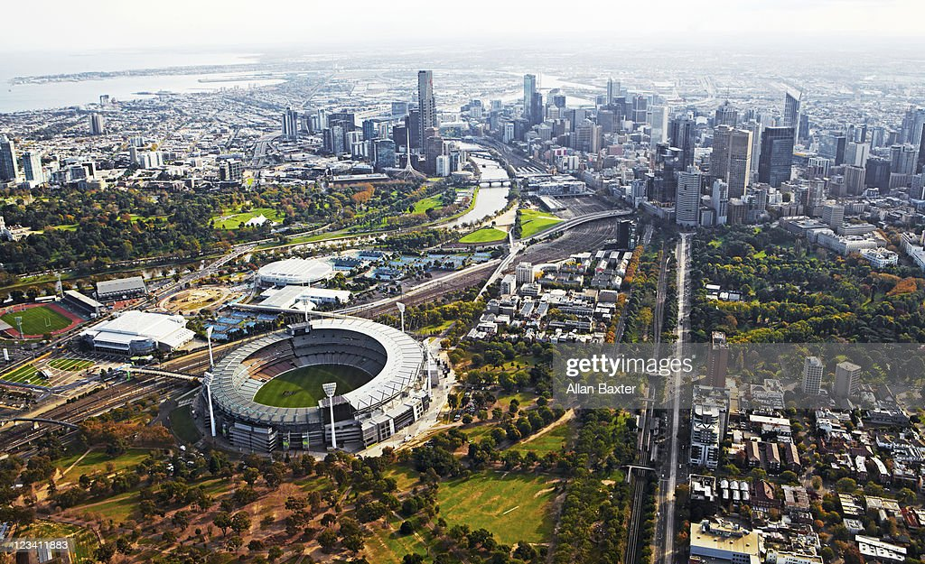 View over Melbourne at dusk : Stock Photo