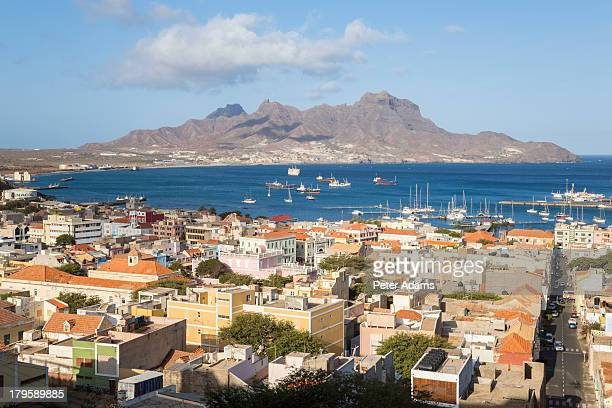 view over mindelo, sao vicente, cape verde - cape verde stock pictures, royalty-free photos & images