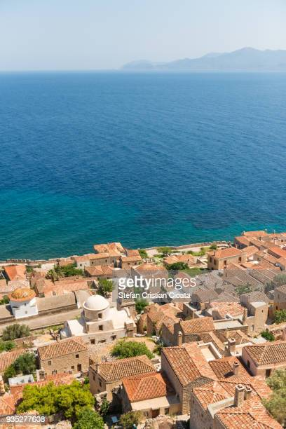 view over monemvasia greece - peloponnese stock photos and pictures