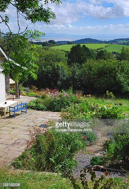 view over morecambe bay from nook garden - nook architecture stock pictures, royalty-free photos & images