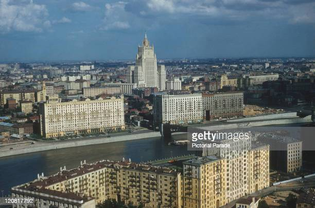 View over Moscow, former Soviet Union, with the Ministry of Foreign Affairs building at centre, circa 1965.