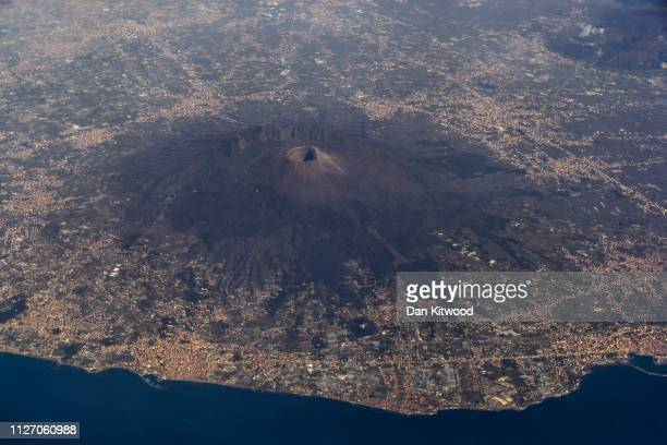 A view over Mount Vesuvius on January 1 2019 in Naples Italy