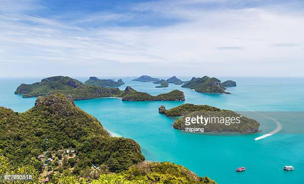 view over mu koh ang thong marine park - ko samui stock photos and pictures