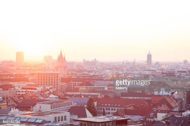 view over munich city - munich, bavaria, germany - new town hall munich stock pictures, royalty-free photos & images