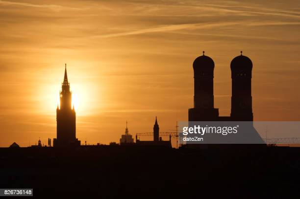 View over Munich with Frauenkirche and New Town Hall, Munich, Bavaria, Germany