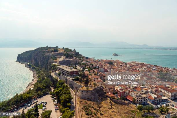 view over nafplio in greece - peninsula de grecia fotografías e imágenes de stock