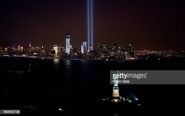 A view over New York City and the 'Tribute In Light' marking the twelfth anniversary of the terrorist attacks at the World Trade Center on September...