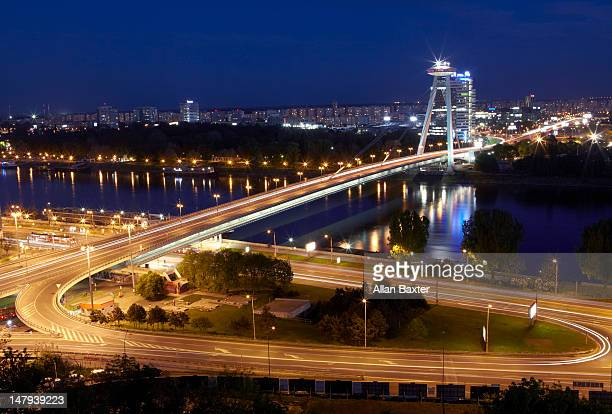 View over Novy Most bridge at night