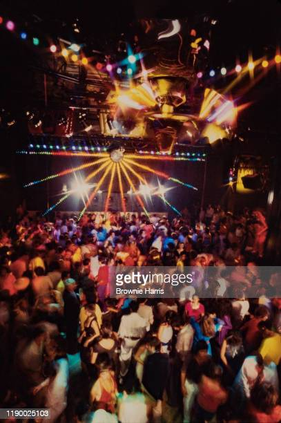 View over of the crowded dancefloor at the Xenon nightclub, New York, New York, 1978.