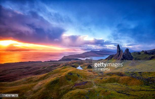 view over old man of storr, isle of skye, scotland - scotland stock pictures, royalty-free photos & images