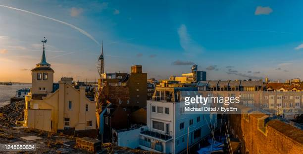 view over old portsmouth - portsmouth england stock pictures, royalty-free photos & images