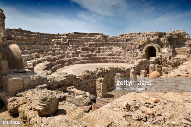 view over old theatre at the archaeological site of the pre-roman town nora - amphitheatre stock photos and pictures