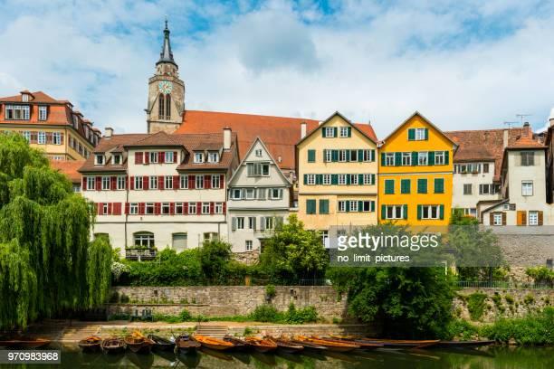 view over old town and Neckar River in Tübingen