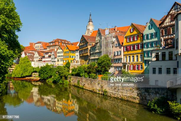 view over old town and neckar river in tübingen - baden württemberg stock photos and pictures