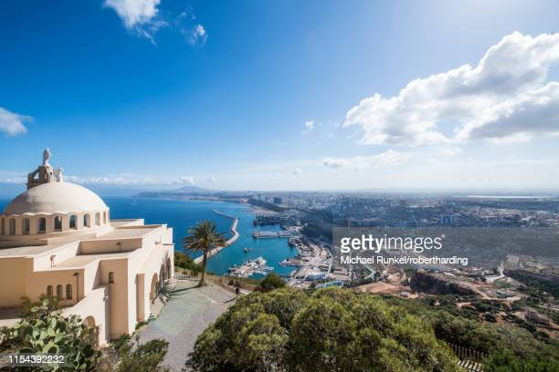 view over oran with the santa cruz cathedral in the foreground, oran, algeria, north africa, africa - algeria stock pictures, royalty-free photos & images