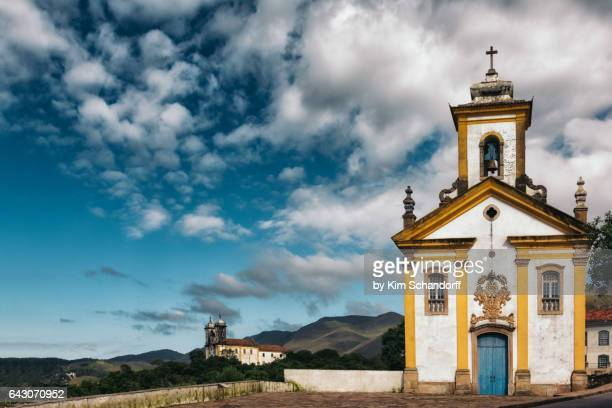 View over Ouro Preto with two churches