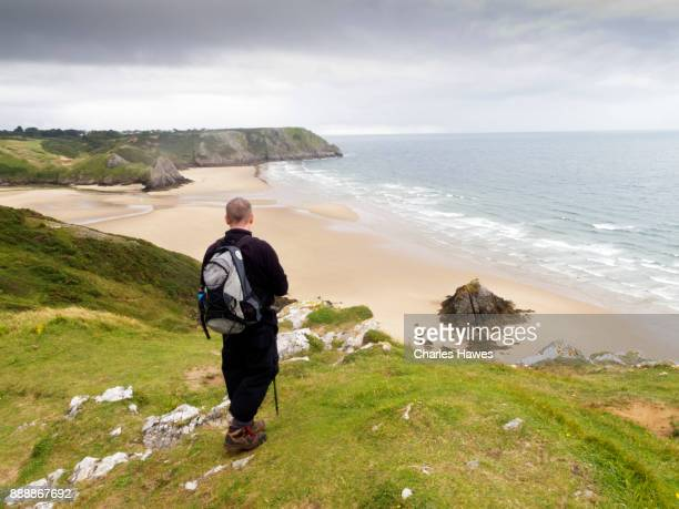 view over oxwich bay. the wales coast path: the gower peninsular - gower peninsula stock photos and pictures