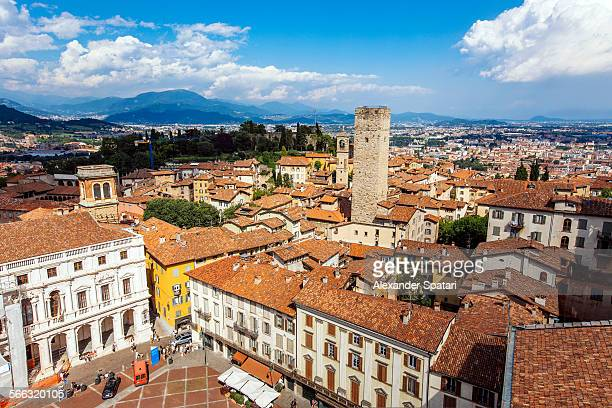 View over Piazza Vecchia, Bergamo, Lombardy, Italy