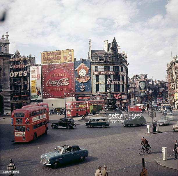 A view over Piccadilly Circus London circa 1963