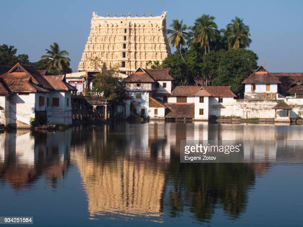view over pond on gopuram of sree padmanabhaswamy temple in thiruvananthapuram (aka trivandrum), kerala, india - thiruvananthapuram stock photos and pictures