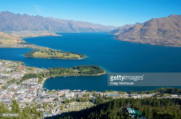 View over Queenstown and Lake Wakatipu towards The Remarkables mountain range, from Bob's Peak.