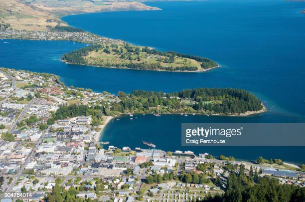 View over Queenstown, Queenstown Bay and Lake Wakatipu from Bob's Peak.