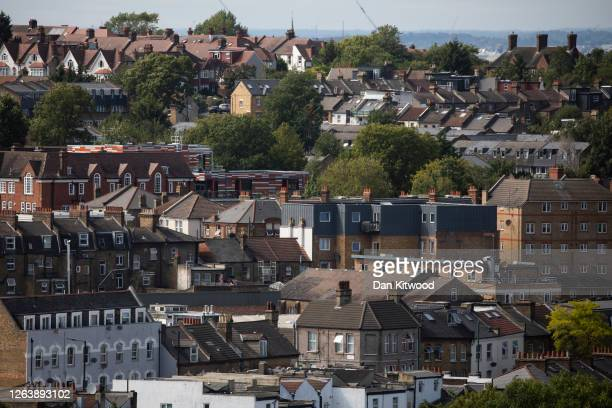 View over residential houses on August 4, 2020 in London, England. House prices in the capital and across much of the country have fallen due to...