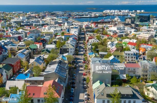View over Reykjavik in summer, Iceland
