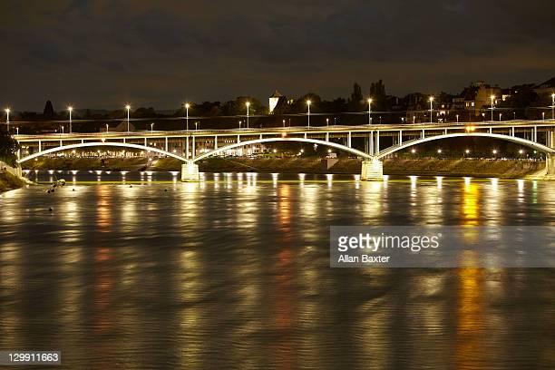 View over River bridge at night