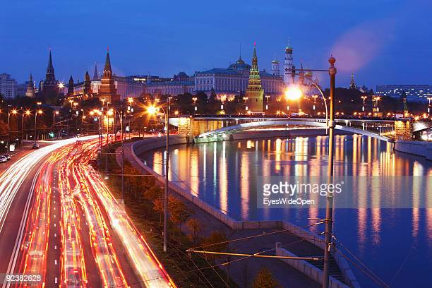 View over river Moskva at the famous Kremlin the goverment building and center of the russian power on October 14 2009 in Moscow Russia Moscow is the...