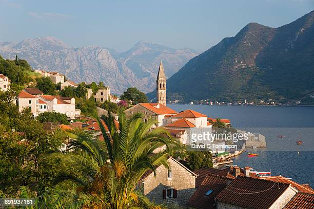 View over rooftops from hillside, Perast, Kotor