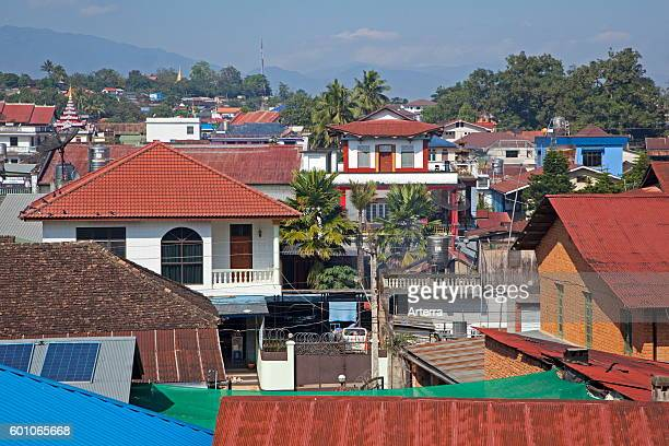 View over rooftops in the town Keng Tung / Kengtung Shan State Myanmar / Burma