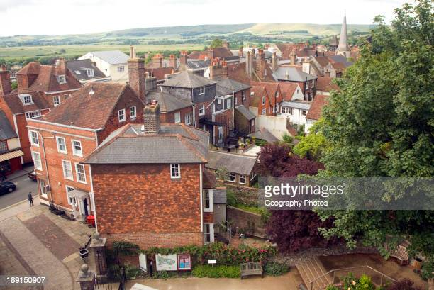 View over rooftops of buildings Lewes East Sussex England