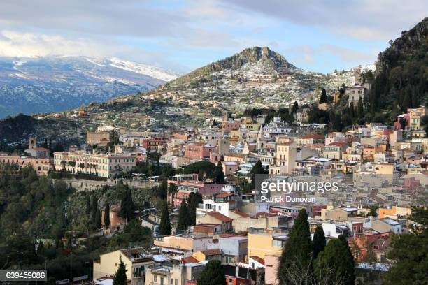 View over rooftops of Taormina, Sicily, Italy