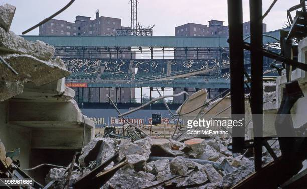 View over rubble piles during the demolition at the Polo Grounds stadium in Upper Manhattan New York New York June 1 1964