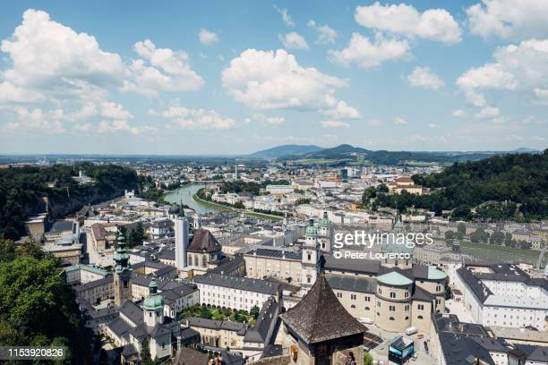 view over salzburg in austria. - peter lourenco stock pictures, royalty-free photos & images