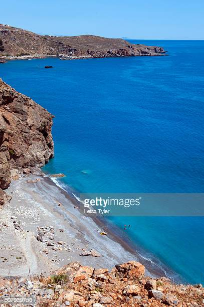 View over secluded Ilingas Beach between the villages of Hora Sfakion and Loutro on the southern coast of the Greek island of Crete
