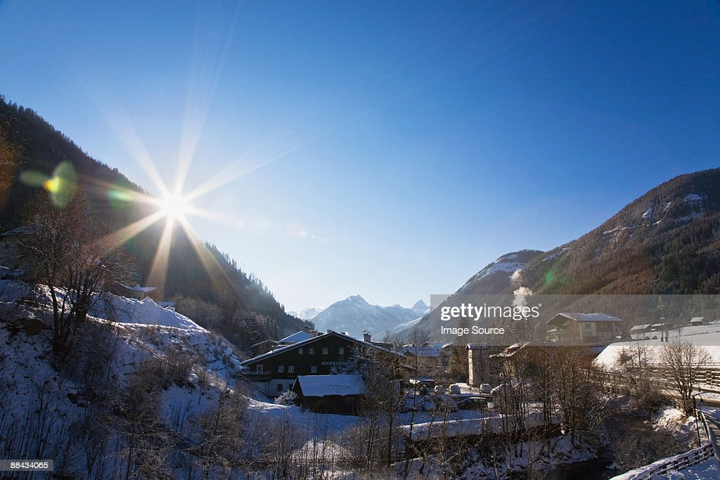 View over snow covered valley in flachau : Stock Photo