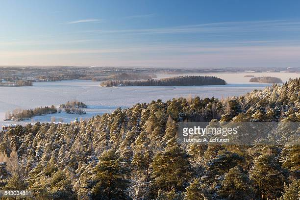 View over snowy trees and frozen lake in Tampere
