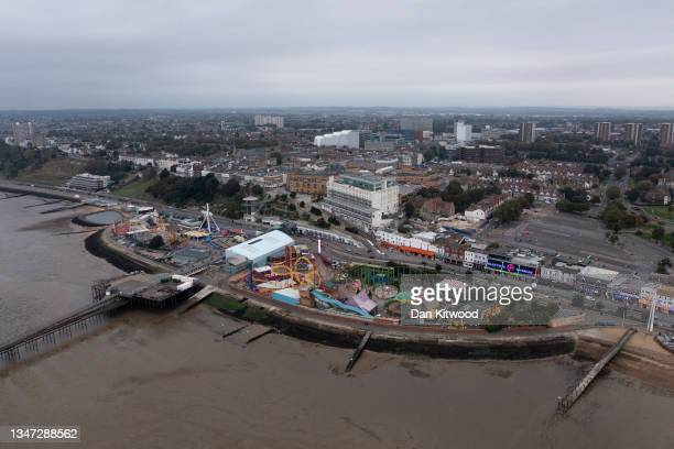 View over Southend after it was announced the town will gain city status, on October 18, 2021 in Southend, England. The campaign to make...