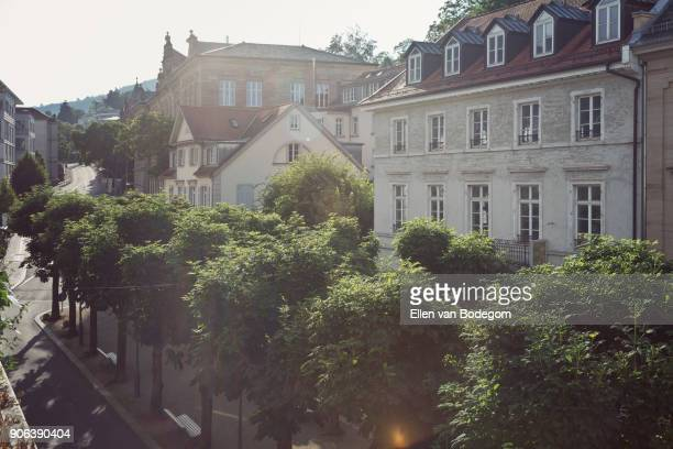 View over street and trees in city centre in Baden-Baden