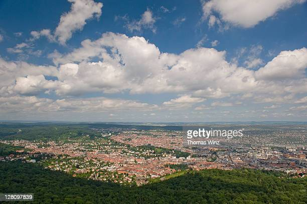 View over Stuttgart from tv tower, Baden Wuerttemberg, Germany