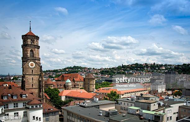 view over stuttgart with stiftskirche  (church) - stuttgart stock pictures, royalty-free photos & images