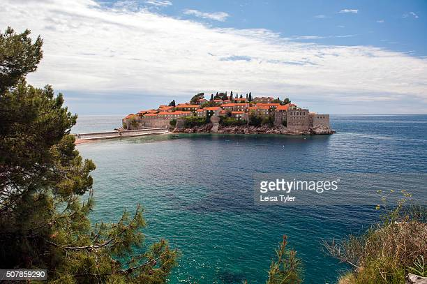 View over Sveti Stefan a 15th century island village built atop a rocky island of the coast of Montenegro and now a luxury resort by Singaporebased...
