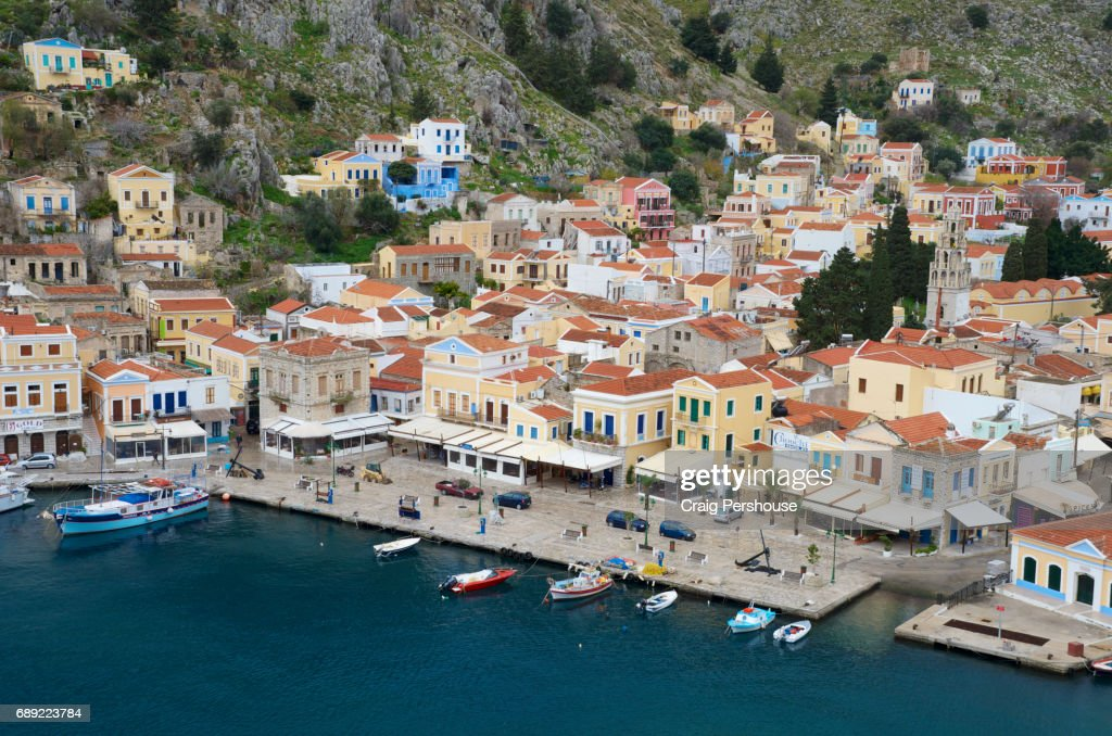 View over Symi Harbour and buildings of Gialos (Yialos). : Stock Photo