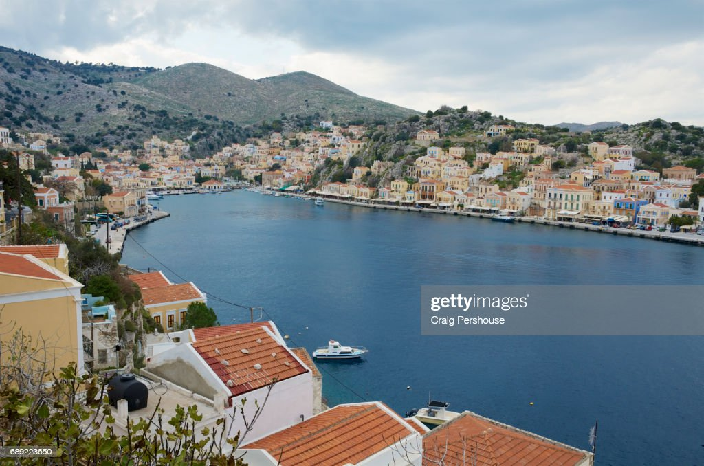 View over Symi Harbour. : Stock Photo
