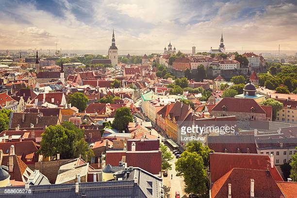 view over tallinn old town - estonia stock pictures, royalty-free photos & images