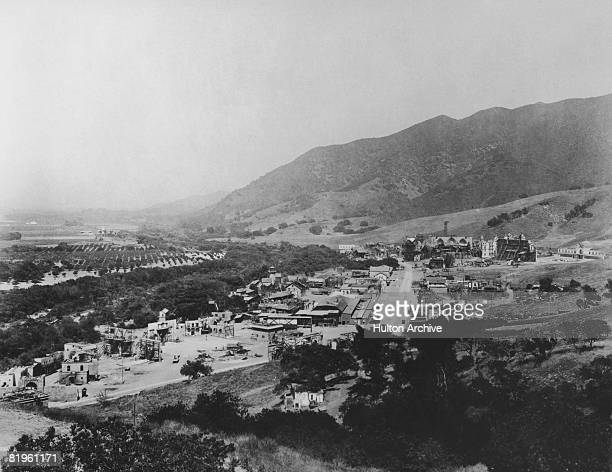 View over the back lot at Universal City Studios, Hollywood, California, 1921. Built on farmland, the studio complex was the world's largest at the...